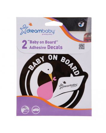 BABY ON BOARD ADHESIVE STORK 2PACK PINK