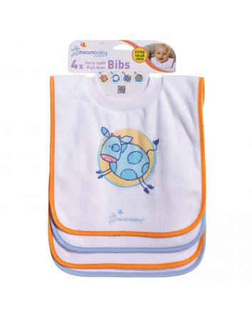 DREAMBABY® TERRY CLOTH PULL-OVER BIBS FARM 4 PACK
