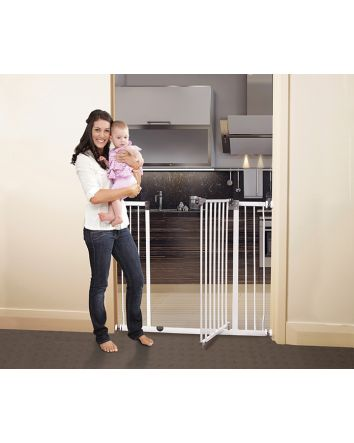 LIBERTY XTRA-TALL & XTRA-WIDE HALLWAY SECURITY GATE WITH SMART STAY-OPEN FEATURE - WHITE