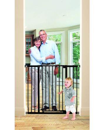 LIBERTY XTRA-TALL & XTRA-WIDE HALLWAY SECURITY GATE WITH SMART STAY OPEN FEATURE - BLACK