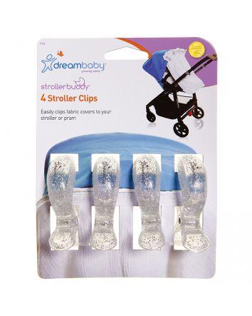STROLLERBUDDY® STROLLER CLIPS 4 PACK - SILVER
