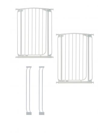 CHELSEA XTRA-TALL WHITE GATE & EXTENSION SET (2 GATES 2 EXTENSIONS)