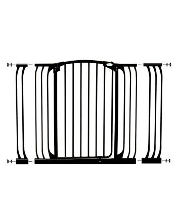 CHELSEA XTRA-TALL & XTRA-WIDE BLACK GATE EXTENSION SET (1 GATE 2 EXTENSIONS)