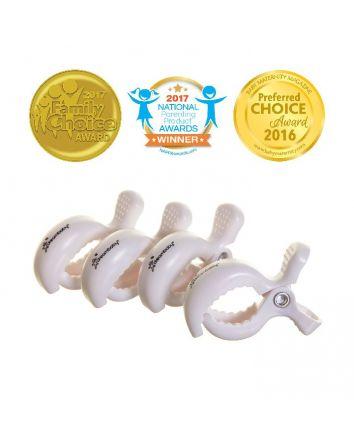 STROLLERBUDDY® STROLLER CLIPS 4 PACK - WHITE