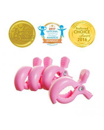 STROLLERBUDDY® STROLLER CLIPS 4 PACK - PINK