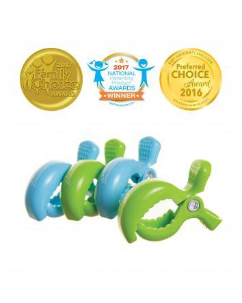 STROLLERBUDDY® STROLLER CLIPS 4 PACK - BLUE/GREEN