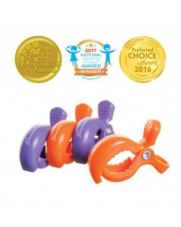 STROLLERBUDDY® STROLLER CLIPS 4 PACK - PURPLE/ORANGE