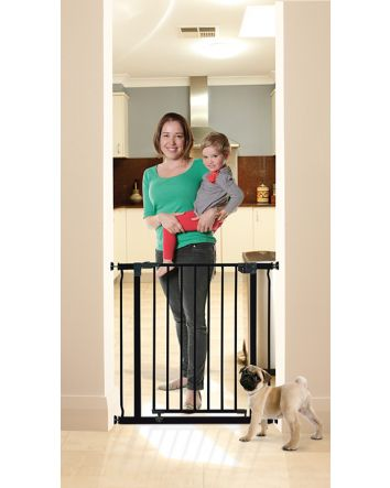 LIBERTY SECURITY GATE WITH SMART STAY-OPEN FEATURE- BLACK